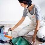 Woman renovating home